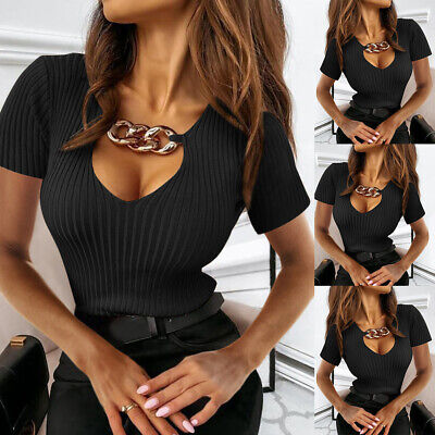 £9.13 • Buy Womens Sexy V Neck Chain Tops Ladies Short Sleeve Ribbed T Shirt Slim Fit Blouse