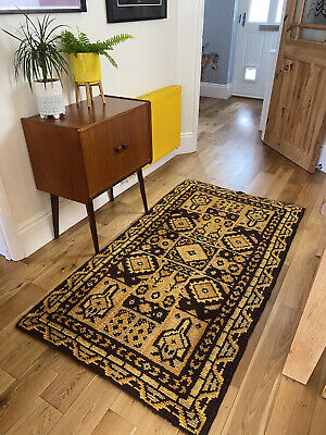 £145 • Buy Mid Century Modern Tufted Hooked Area Wool Rug 70s Brown Yellow Abstract Vtg