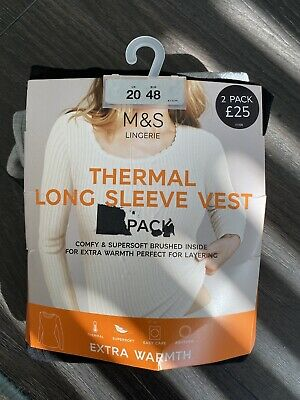 £8.50 • Buy M & S Thermal Long Sleeve Vest 2 Pack Size 20