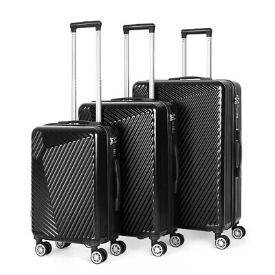 View Details 20'' 24'' 28'' 3 Piece Set Suitcase ABS Trolley Luggage Rolling Black • 109.99$