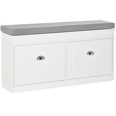 £94.99 • Buy HOMCOM Shoe Storage Bench With Seat Cushion Cabinet Organizer With 2 Drawers