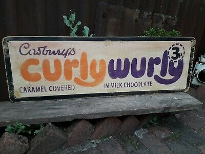 £45 • Buy Cadburys Curly Wurly Chocolate Sign Frys Sweet Shop Prop Mancave Decor Rowntrees