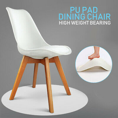 AU78.50 • Buy 4x Dining Chairs Kitchen Table Chair Lounge Room Plastic Wood Retro Padded Seat