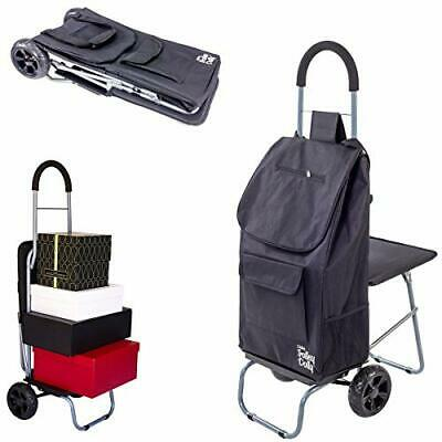 £60.61 • Buy Dbest Products Trolley Dolly With Seat Black Shopping Grocery Foldable Cart T...
