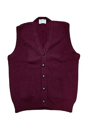 $29.99 • Buy Vintage Lord Jeff The Moors L Burgundy Wool Cardigan Sweater Vest Button Pockets