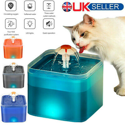 £14.98 • Buy 2L/67oz Automatic Cat Drinking Fountain With Night Light USB Pet Water Dispenser
