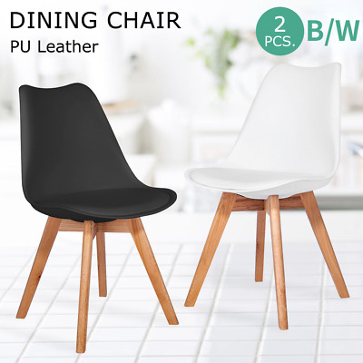 AU48.89 • Buy 2x Dining Chairs Non-slip Kitchen Lounge Room Plastic Wood Retro Padded Seat