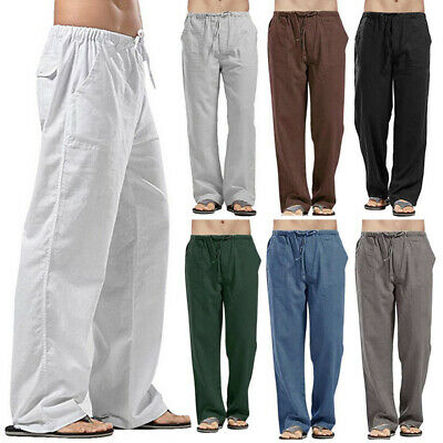 $15.04 • Buy Casual Mens Drawstring Straight Pants Loose Cotton Linen Trousers Beach Pants