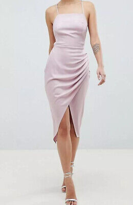 £24 • Buy ASOS Satin Ruched Side Midi Dress With Strappy Back Mink - UK Size 14