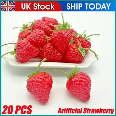 £6.99 • Buy 20X Artificial Plastic Strawberry Fruit Fake Display For Kitchen Home Food Decor