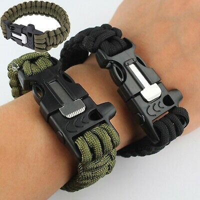 $4.75 • Buy Survival Paracord Bracelet Wristband Military Camping Hiking Emergency Gear