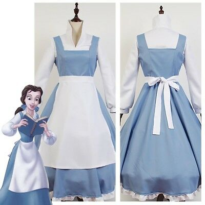$42.31 • Buy Beauty And The Beast Princess Belle Maid Dress Uniform Cosplay Costume Outfit