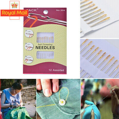 £2.59 • Buy 12Pcs Gold Self Threading Sewing Needles - Assorted Sizes - Easy Thread New H