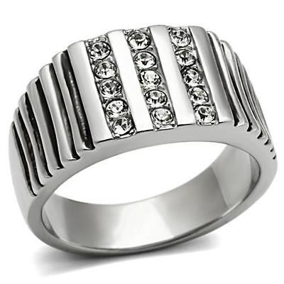 £16.99 • Buy Mens Silver Ring Cz Stainless Steel Signet Pinky Channel Set Clear Stamped 364