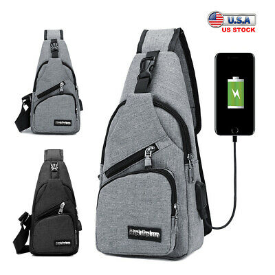 $10.99 • Buy Men Women Sling Chest Bag Nylon Cross Body Shoulder Backpack With Charging Cable
