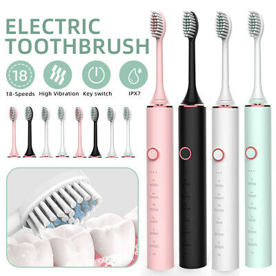 AU21.99 • Buy USB Rechargeable Sonic Electric Toothbrush 6 Modes W/ 4/8 Replacement Brushheads