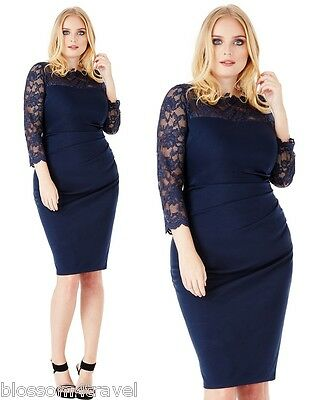 £29.99 • Buy Goddiva Navy Scalloped Lace Fitted Marcella Cocktail Evening Party Dress