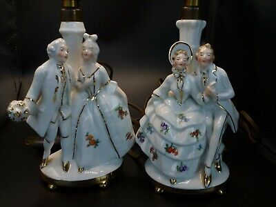 $ CDN100 • Buy German-made Porcelain Figurine Table Lamps Courting Couples Theme