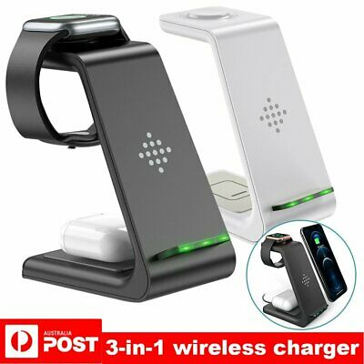 AU21.93 • Buy 3in1 Qi Wireless Charger Fast Charging Dock Stand For Airpods Apple Watch IPhone