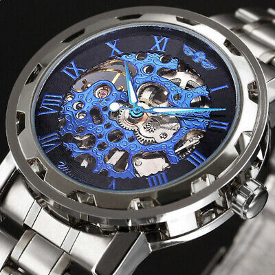 £17.99 • Buy Mens Mechanical Watches Steel Skeleton Hand Wind Up Auto Automatic Wrist Watch