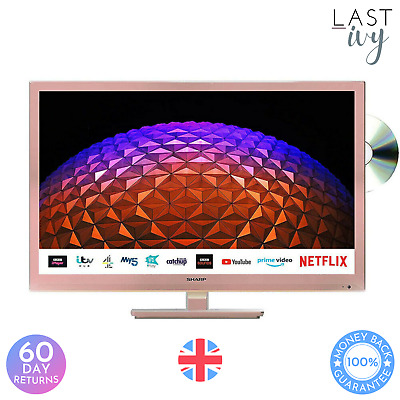 £179.97 • Buy Sharp 1T-C24BE0KR1FR 24  Rose Gold HD Ready Smart Television With Built In DVD P
