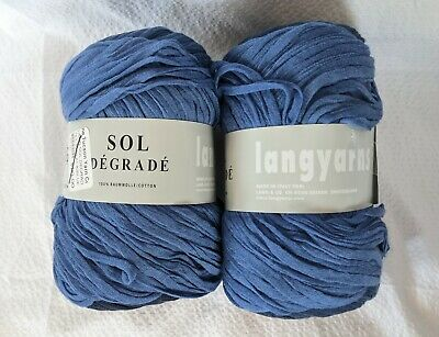 $18.98 • Buy LANG YARN SOL DEGRADE Blue Ombre 2 Skeins 100% Cotton Made In Italy