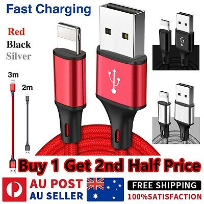 AU4.99 • Buy Braided USB Fast Charging Phone Cable Data Cord For IPhone 12 11 7 X 8 6 IPad