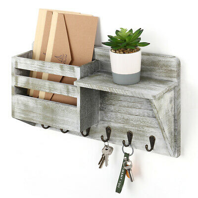 $19.99 • Buy Mail Key Holder Organizer Wall Mounted Rustic Letter Bills Storage With Hooks