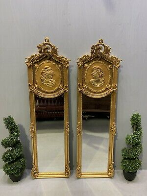 £495 • Buy Pair Of French Victorian Design Gilt Frame Mirrors With Lady Figures Superb
