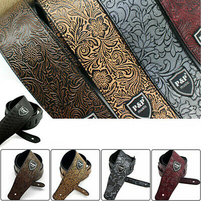 AU14.68 • Buy Adjustable PU Leather Embossed Guitar Strap For Acoustic Electric Guitar/Bass AU