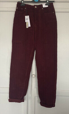 £16 • Buy Topshop Burgundy Cord Mom Jeans - Size 10
