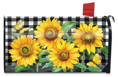 $16.99 • Buy Checkered Sunflowers Summer Magnetic Mailbox Cover Everyday Floral Standard