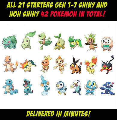 $2.77 • Buy All Starters Gen 1-7   Shiny And Non Shiny   42 Pokemon In Total   HA & 6IV