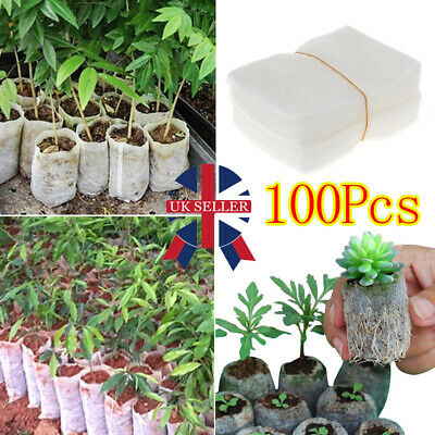 £3.98 • Buy 100X Biodegradable Non-Woven Nursery Bag Pouch Seedling Set Plant Grow Seed Pots