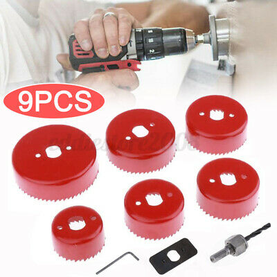 £11.13 • Buy 9pc Down Lights Hole Cutter Saw Holesaw Kit Set +Fixing Plate+Hex Shank Arbor
