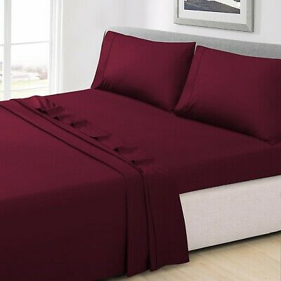 AU44.90 • Buy Bed Sheet Flat Fitted Sheet Set Pillow Case Ultra Soft Double Queen King KS