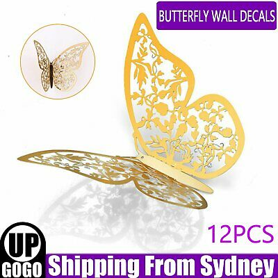 AU5.75 • Buy 12PCS 3D Butterfly Wall Decals Stickers Removable Kids Nursery Decoration DIY AU