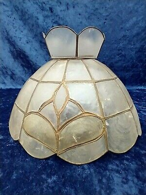 £20 • Buy Vintage Capiz Shell Tiffany Style Lightshade Lampshade With Crown White/Yellow