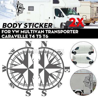 £12.65 • Buy 2x Side Stickers Grey Compass For VW Multivan Transporter Caravelle  T4 T5 T6