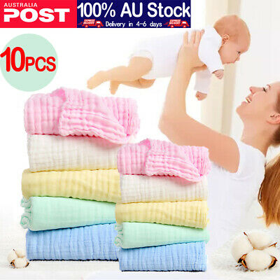 AU23.99 • Buy (10 Pcs)Baby Muslin Washcloths(30*30cm ,5 Colors)-100% Natural Cotton Baby Wipes