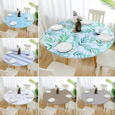 AU18.69 • Buy Patio Tablecloth Round Fitted Elastic Waterproof Oilproof Dining Table Cover