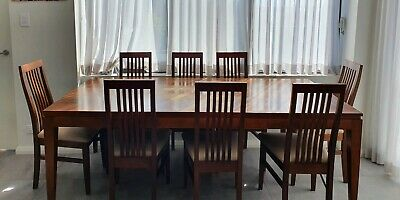 AU990 • Buy SOLID TIMBER DINING TABLE With 8 CHAIRS