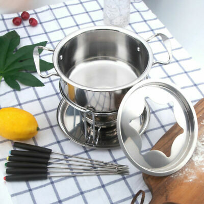 £9.99 • Buy Stainless Steel Cheese Chocolate Fondue Set Melting Pot With 6 Forks Fuel Burner