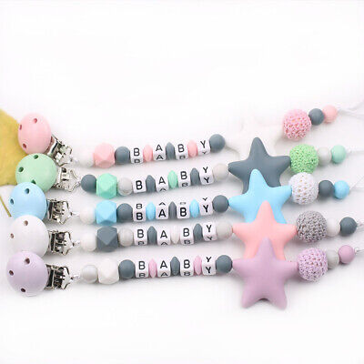 £4.99 • Buy Dummy Clip Holder Baby Pacifier Clips Teething Beads Soother Chains Silicone TnL