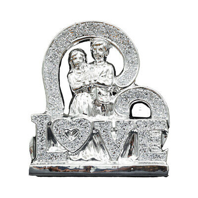 £19.99 • Buy Stunning Silver Couple In Love Sparkle Bling Ornament Crushed Diamond Gift