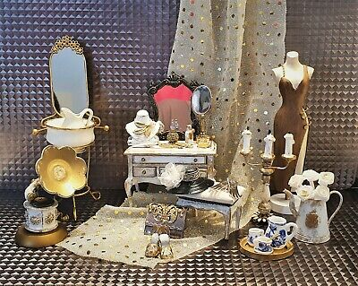 £190 • Buy 1:12 Dolls House Dressing Table Furniture Accesories Bedroom Boutique Shabbychic