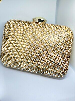 £9.99 • Buy Clutch Bag Gold&Multi-Shade Stones For Party And Wedding