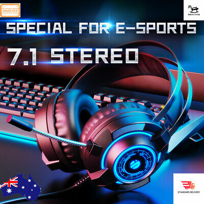 AU24.99 • Buy Inphic Gaming Headset Wired LED Headphones 7.1 Stereo With Mic For PC Laptop BK