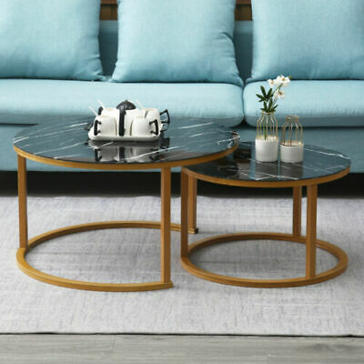 £80.89 • Buy 2 × Round Coffee Table Set Sofa Tables Nested Side Living Room Home Marble Vein