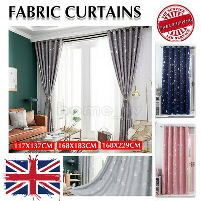 £10.99 • Buy Thick Curtains Thermal Blackout Curtain Ring Top Pair Panel Galaxy Star Kids